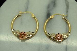 14k Yellow Gold Fancy Hollow Hoop Earrings, 21mm X 19mm