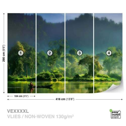 WALL MURAL PHOTO WALLPAPER XXL River Canoe Man Floating Woodland 1X-32373WS