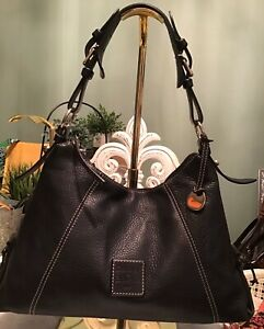 Dooney-Bourke-Large-Zipper-Hobo-Tote-Pebbled-Vachetta-Leather-Black-Duck-FOB-EUC