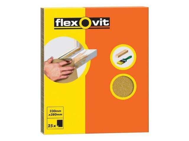 Flexovit FLV58231 Papel Vidrio Hojas de Lija 230 x 280mm Grado Oo (25)