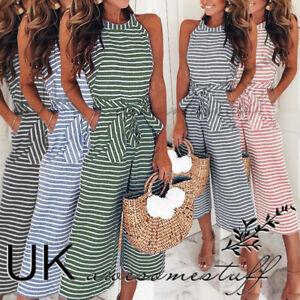 UK-Womens-Striped-Wide-Leg-Jumpsuit-Ladies-Evening-Party-Playsuit-Size-6-16
