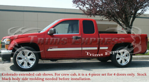 2005-2009 Chevy Colorado//Canyon Extended Cab Body Side Molding Overlay Trim 6Pc