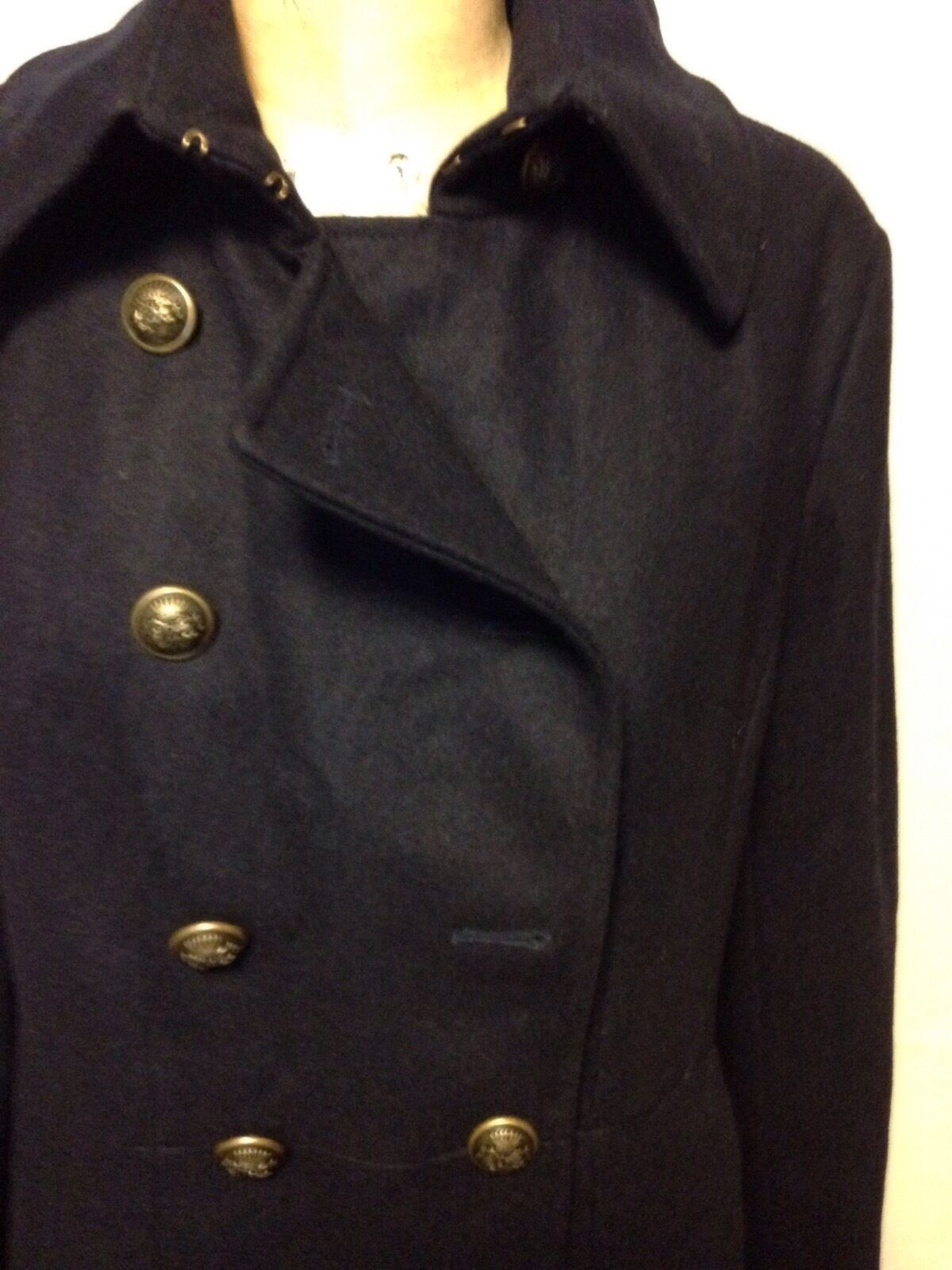 DKNY Double Breasted Military Coat 14P Midnight Midnight Midnight bluee MISSING BUTTON New w Defect 679701