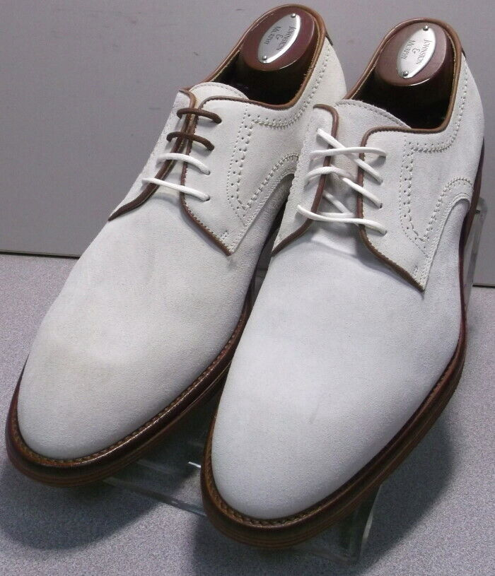 242028 MSi60 Men's Shoes Size 8.5 M White Suede Made in Italy Johnston Murphy