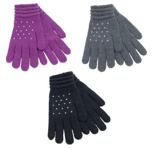 Gris foxbury strass Everyday Hiver Gants GL536 Femmes Violet Noir