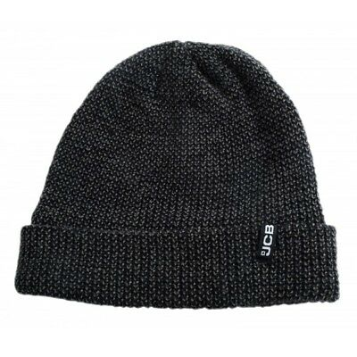 JCB Black Grey Marl Knitted Hat Acrylic Beanie Winter Warm Micro Fleece Lined