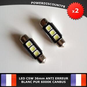 2-Ampoule-Navette-LED-C5W-36mm-ANTI-SANS-ERREUR-CANBUS-Plafonnier-Plaque-6000k