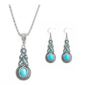 Hot-Retro-Jewelry-Set-Turquoise-Thai-Silver-Elegant-New-Dangle-Earrings-Necklace