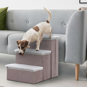 3-Step Foldable Pet Steps Dog Stairs with Fleece Cover and Storage