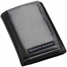 NEW TOMMY HILFIGER CAMBRIDGE BLACK LEATHER CREDIT CARD CASE TRIFOLD MEN WALLET