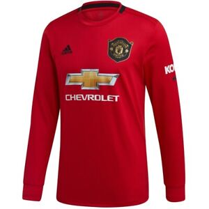 Details about adidas Manchester United 2019 - 2020 LS Long Sleeve Home Soccer Jersey Red Gold