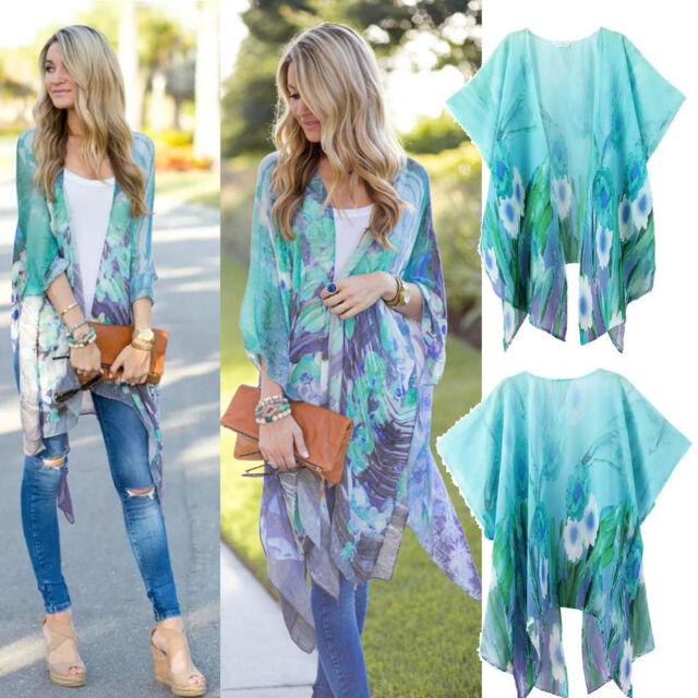 Fashion Women Blouse Floral Printed Summer Chiffon Coat Shawl Kimono Cardigan