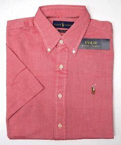 NWT-85-Polo-Ralph-Lauren-SS-Chambray-Oxford-Shirt-Mens-S-L-XL-XXL-Red-Cotton