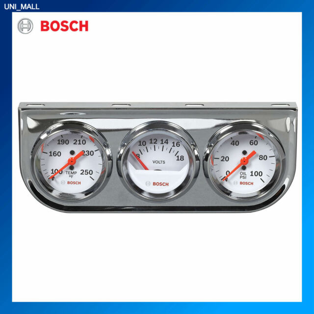 "Bosch New FST8208 SP0F000046 Style Line 2/"" Triple Gauge Kit Temp, Volts, Oil"
