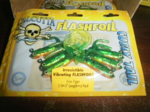 CALCUTTA FLASHFOIL CURLY TAILS LURES FFCT3ft  3 INCH 1//4  OUNCE 6 PACK BASS