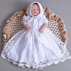 Bebe-Filles-Dentelle-Bapteme-Robe-de-parti-robe-et-bonnet-0-3-6-9-12-mois