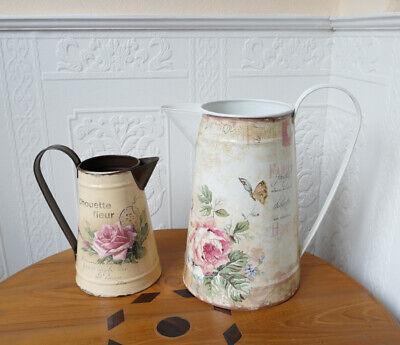 Blechkanne Karaffe Landhaus Milchkanne Blech-Kanne Vintage Blumen Kanne