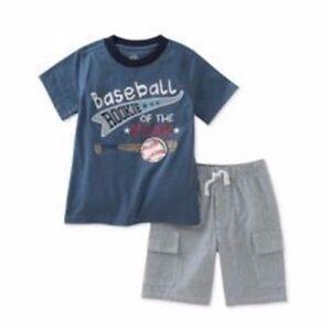 Kids-Headquarters-Little-Boys-Toddler-2-PC-Cotton-T-Shirt-amp-Shorts-Set-New