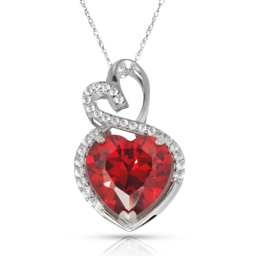 4.20 Carat Halo Garnet Double Heart Gemstone Pendant /& Necklace14K White Gold