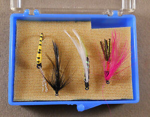 Trout-Fishing-Lure-Wet-Dry-Flies-Box-Of-4-Pack-Fly-Hooks-Lot-7-As-Photo