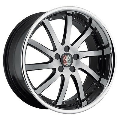 20 inch Staggered Roderick RW4 black wheels rims 5x4.5 5x114.3 +35