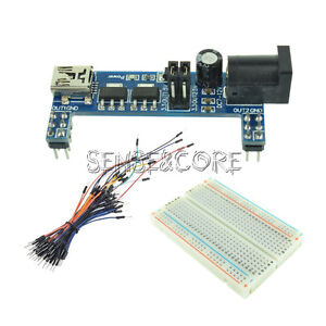Jumper Cable MB102 Power Supply Module 3.3V 5V+MB102 Breadboard Board 400 Point