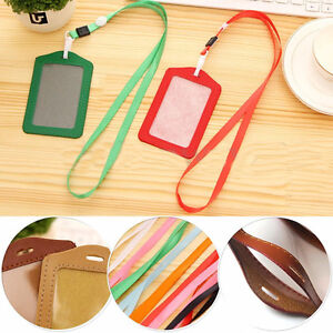 PU-Leather-Pocket-ID-Card-Pass-Badge-Holders-Case-With-Neck-Strap-Lanyard-Modish