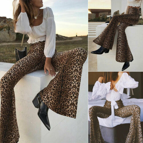 Women High Waist Leopard Trousers Ladies Flare Bell Bottom Casual Stretchy Pants