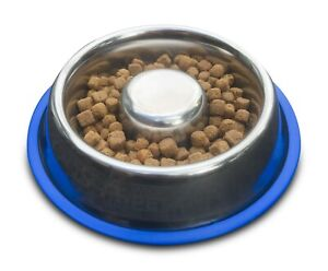 Slow-Feed-Dog-Bowl-Hygienic-Stainless-Steel-Slows-Eating-Prevents-Gas-amp-Bloat