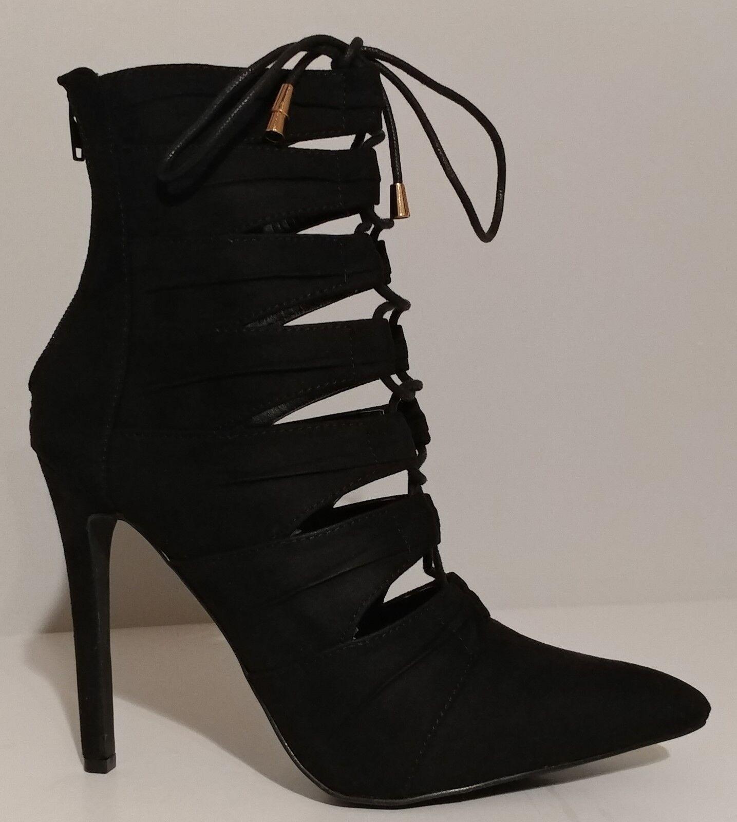 NOUVEAU    Liliana en daim noir à lacets lacets lacets Chaussons 4.5  Talons Taille 8 M us 38 M eur 544045