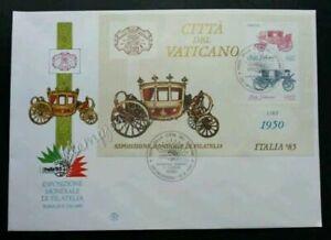 [SJ] Vatican Coach International Philatelic Exhibition Rome 1985 Transport (FDC)