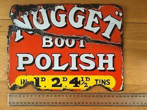 Antique Double Sided Enamel Cobblers Advertising Sign 'Nugget Boot Polish' Rare