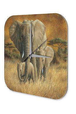 Orologio Da Parete Stanza Dei Bambini Animale Elefante Decorazione Elefanti Mandria Steppe Erba Orologio Stampati- Grande Assortimento