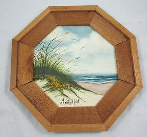Original-Octagon-Framed-Oil-Painting-Beachfront-Ocean-Scene-Signed-Dorothy-Hurt