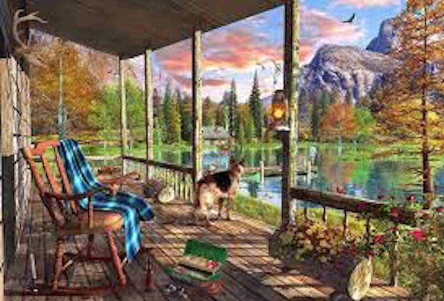 WENTWORTH WOODEN JIGSAW PUZZLE  - -   MOUNTAIN CABIN 250 PIECES 503c66