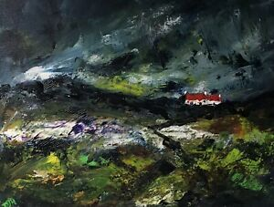 ORIGINAL-PAINTING-Acrylic-On-Canvas-Storm-Over-Pembrokeshire-Cottage-40x30cm