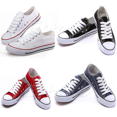 New Hot Women Lady Low Top Casual Shoes Plimsoll Sneakers Student Sports Shoes