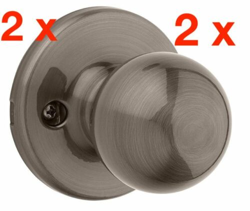 2 X Kwikset 488P 15A Polo Dummy Knob Antique Nickel INCLUDES FREE SHIPPING!!!