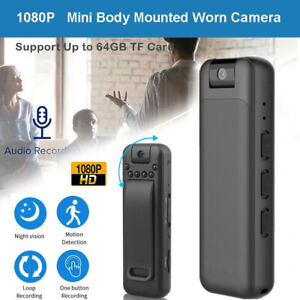 1080P HD Video DVR Clip IR Night Cam 8-Hour Camcorder Mini Police Body Camera US