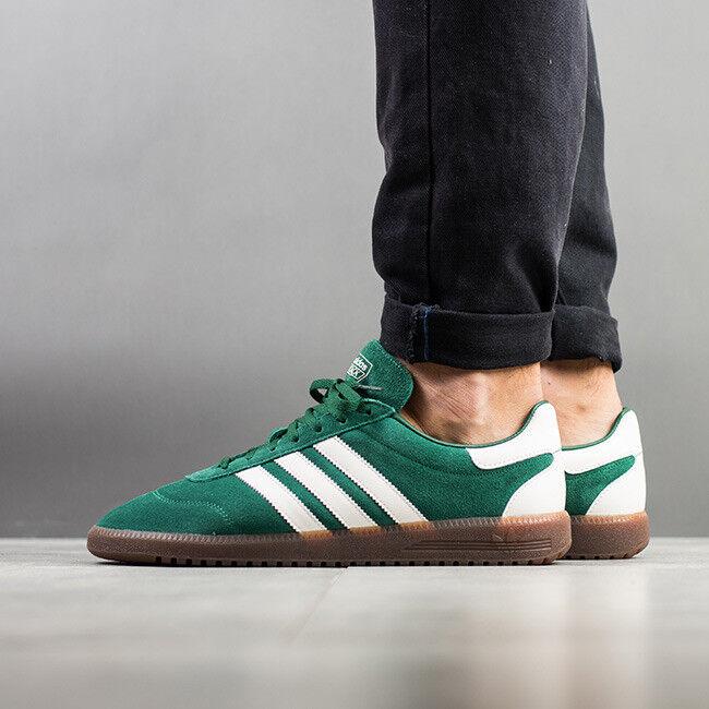 Adidas spezial intack uomini 12 verde scamosciata / striscia bianca di amburgo trimm samba