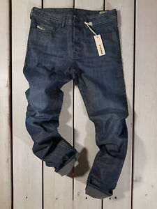 Rrp-167-Nuovo-Jeans-Diesel-Uomo-Buster-0844G-Regular-Slim-Tapered-Stretch-Blu