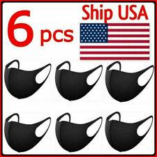 6 PCS Face Mask Reusable Washable Fashion Unisex Spandex Black Mask Mouth Cover