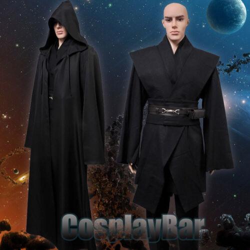Men/'s Star Wars Anakin Skywalker Black Tunic Robe Halloween Cosplay Costume