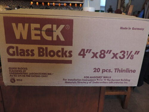 "NEW!! Glass Block By Weck Case of 20 4 x 8 x 3-1//8/"" CLEAR SEE THROUGH"
