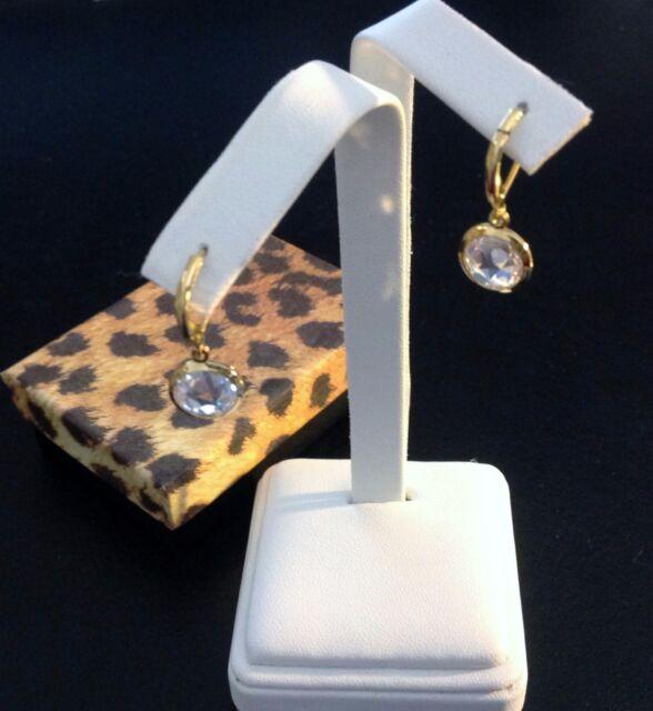 Solitaire Drop Earrings-Round Cubic Zirconia-Bezel Set-Leverback-Gold EP-Classic