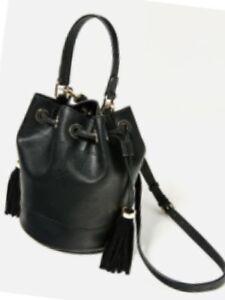 d351cb891ca Image is loading Zara-Genuine-Tassel-Bucket-Bag-BNWT-black-M