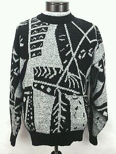 Le-Tigre-vintage-achtziger-abstrakt-schwarz-grau-geometrische-Bill-Cosby-Pulli-USA-Herren-M