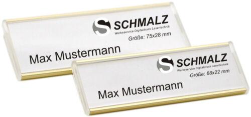 10 x Aluminium Namensschilder gold Metall mit Sicherheitsnadel Papiereinschub