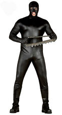 Mens Black Rubber Suit Bondage Gimp Fetish Mad Max Horror Fancy Dress Costume