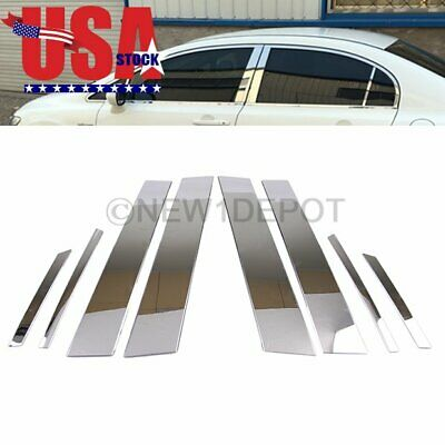 For Honda Civic 16-18 Chrome Car Door Window Pillar Post Trim Cover Molding 6pcs